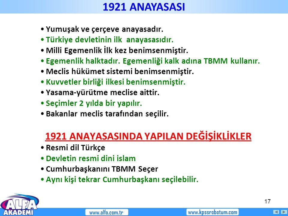 1921 ANAYASASI 1921 ANAYASASINDA YAPILAN DEĞİŞİKLİKLER