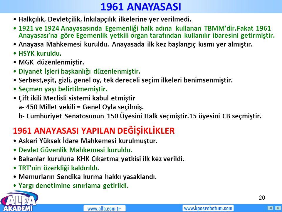 1961 ANAYASASI 1961 ANAYASASI YAPILAN DEĞİŞİKLİKLER