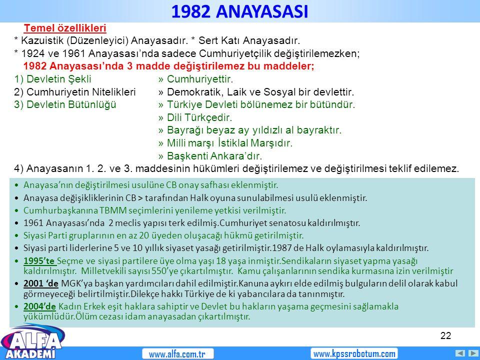 1982 ANAYASASI Temel özellikleri
