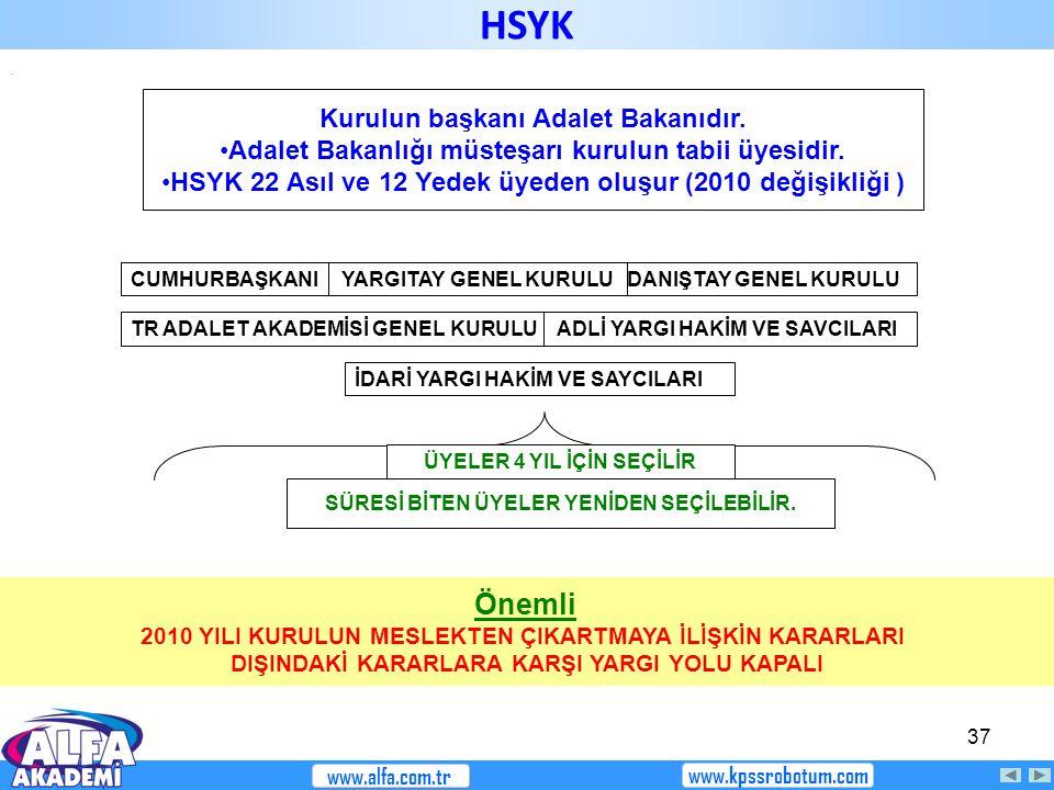 HSYK Önemli Kurulun başkanı Adalet Bakanıdır.