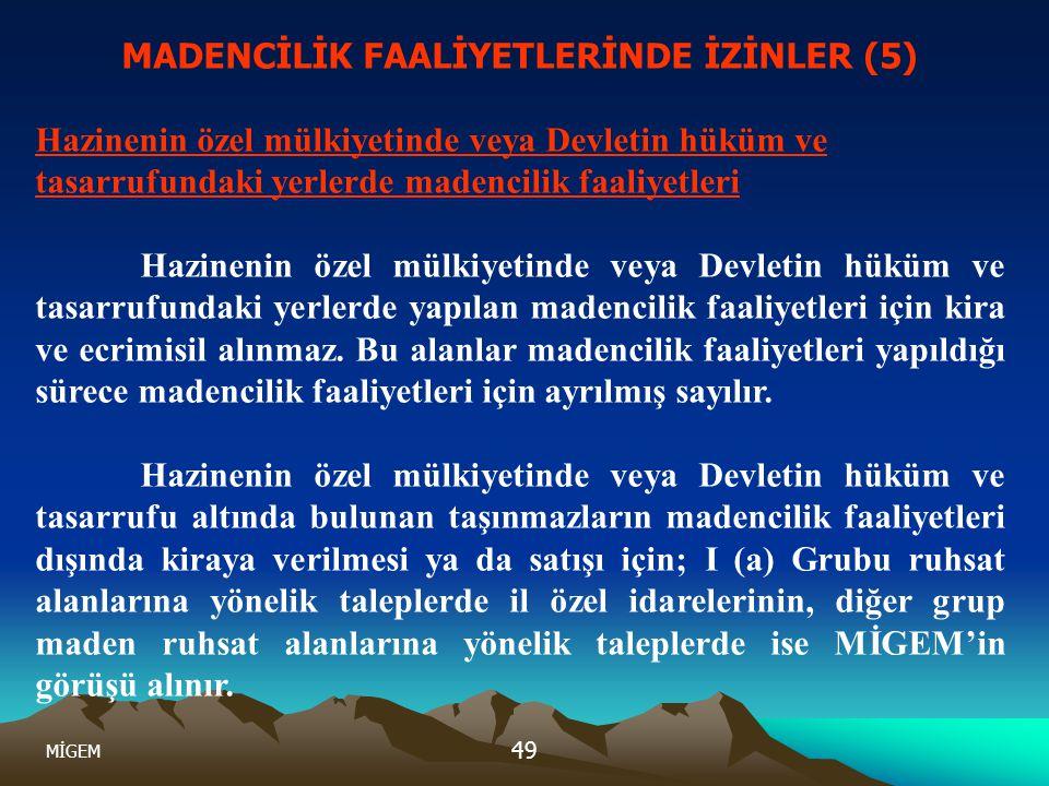 MADENCİLİK FAALİYETLERİNDE İZİNLER (5)