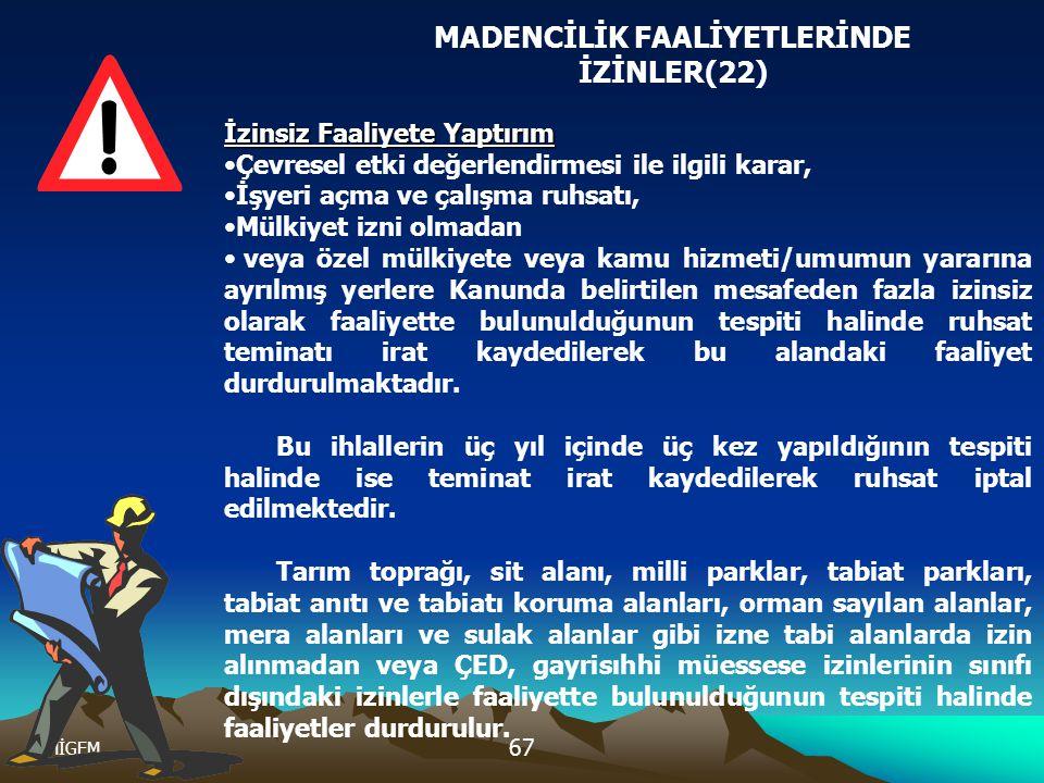MADENCİLİK FAALİYETLERİNDE İZİNLER(22)