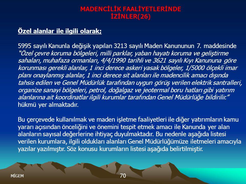 MADENCİLİK FAALİYETLERİNDE İZİNLER(26)