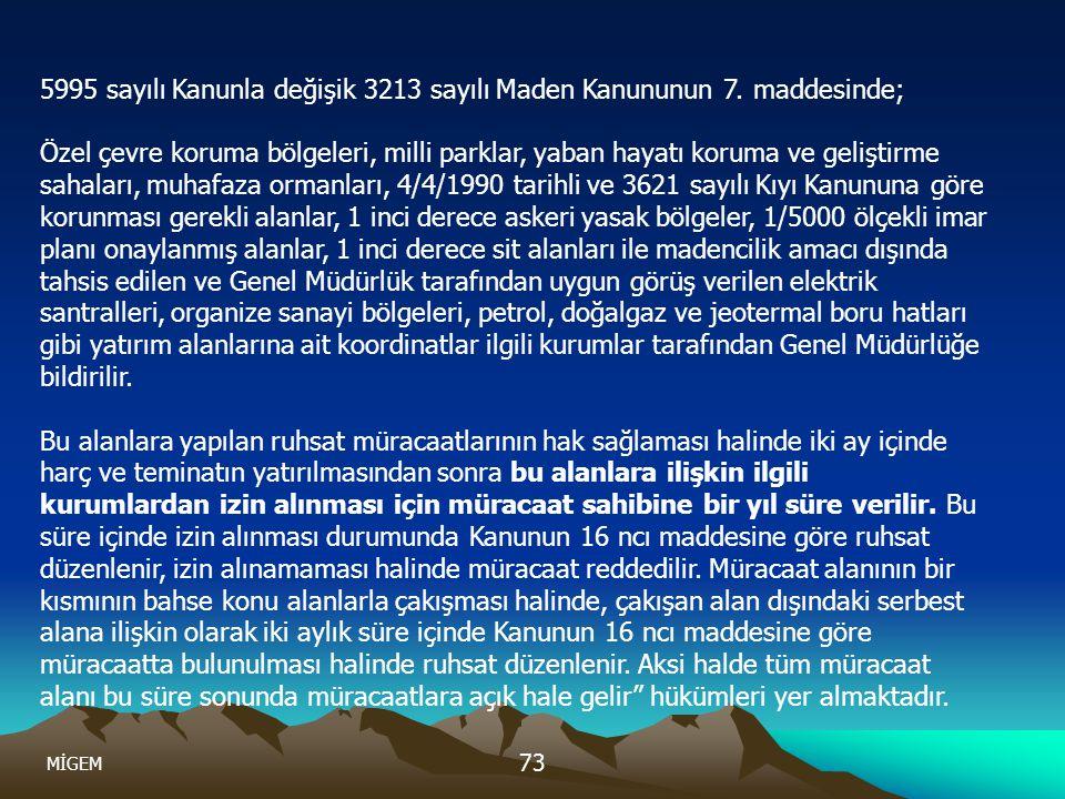 5995 sayılı Kanunla değişik 3213 sayılı Maden Kanununun 7. maddesinde;