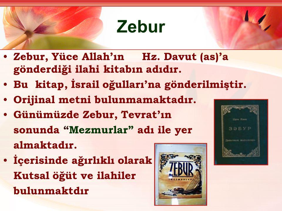 Zebur Zebur, Yüce Allah'ın Hz. Davut (as)'a gönderdiği ilahi kitabın adıdır. Bu kitap, İsrail oğulları'na gönderilmiştir.