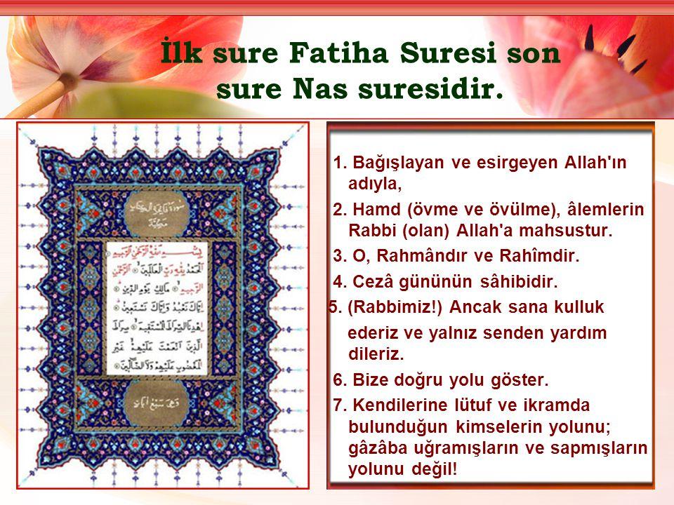 İlk sure Fatiha Suresi son sure Nas suresidir.