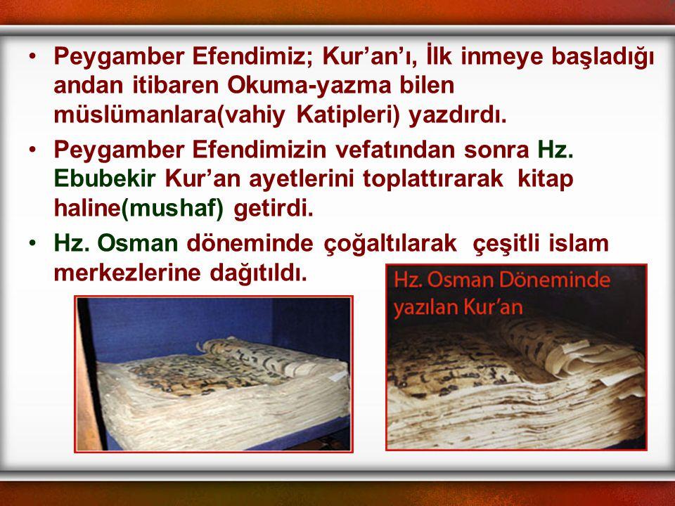 Peygamber Efendimiz; Kur'an'ı, İlk inmeye başladığı andan itibaren Okuma-yazma bilen müslümanlara(vahiy Katipleri) yazdırdı.