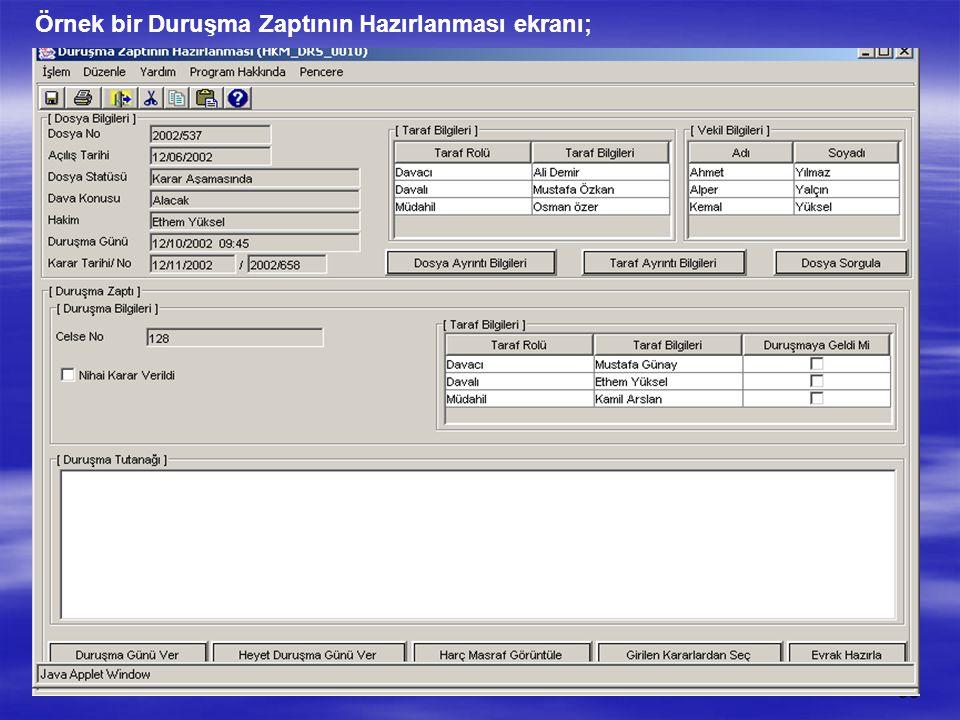 Örnek bir Duruşma Zaptının Hazırlanması ekranı;
