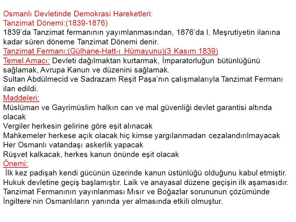 Osmanlı Devletinde Demokrasi Hareketleri: