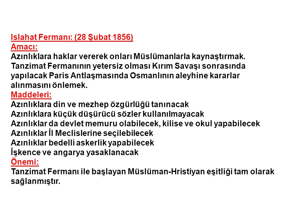 Islahat Fermanı: (28 Şubat 1856)
