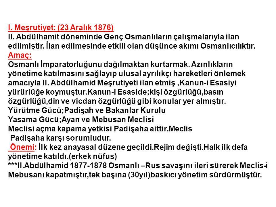 I. Meşrutiyet: (23 Aralık 1876)