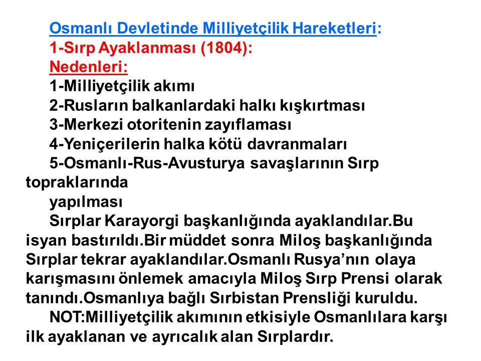 Osmanlı Devletinde Milliyetçilik Hareketleri: