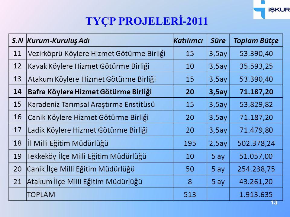 TYÇP PROJELERİ-2011 S.N Kurum-Kuruluş Adı Katılımcı Süre Toplam Bütçe