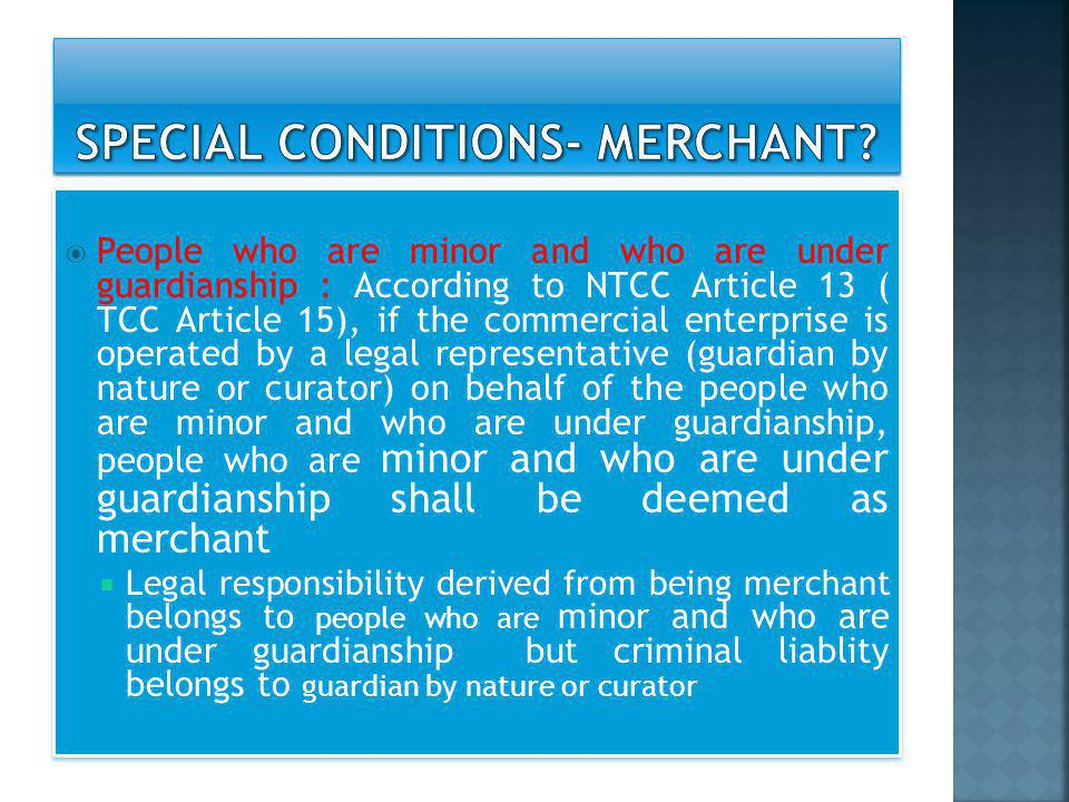 SPECIAL CONDITIONS- MERCHANT
