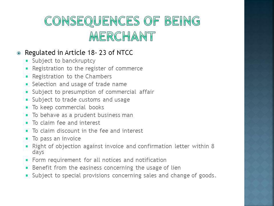 Consequences of beING MERCHANT