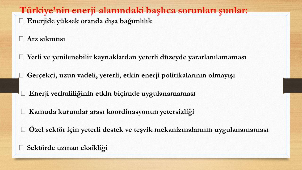 Türkiye'nin enerji alanındaki başlıca sorunları şunlar:
