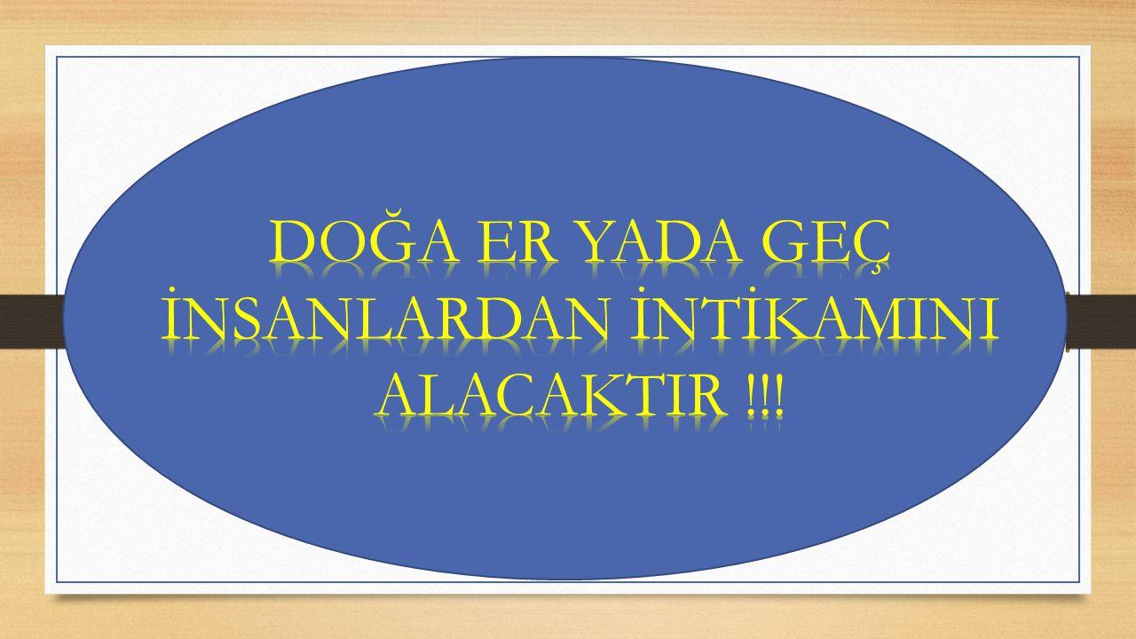 DOĞA ER YADA GEÇ İNSANLARDAN İNTİKAMINI ALACAKTIR !!!