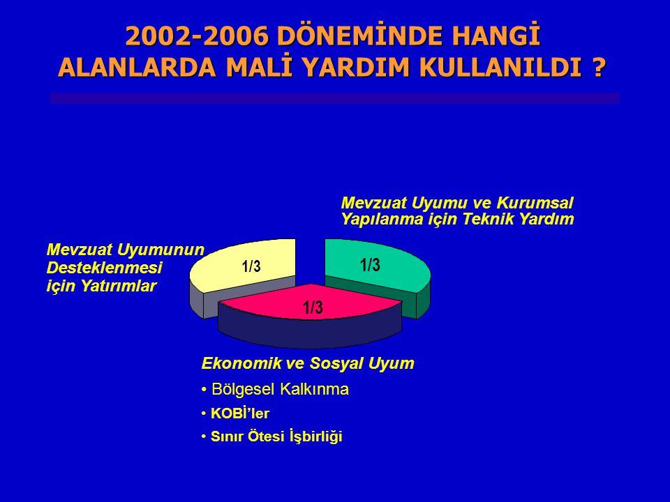 2002-2006 DÖNEMİNDE HANGİ ALANLARDA MALİ YARDIM KULLANILDI