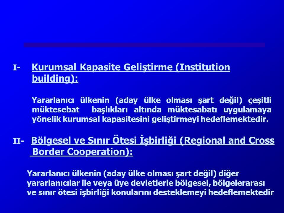 I- Kurumsal Kapasite Geliştirme (Institution building):