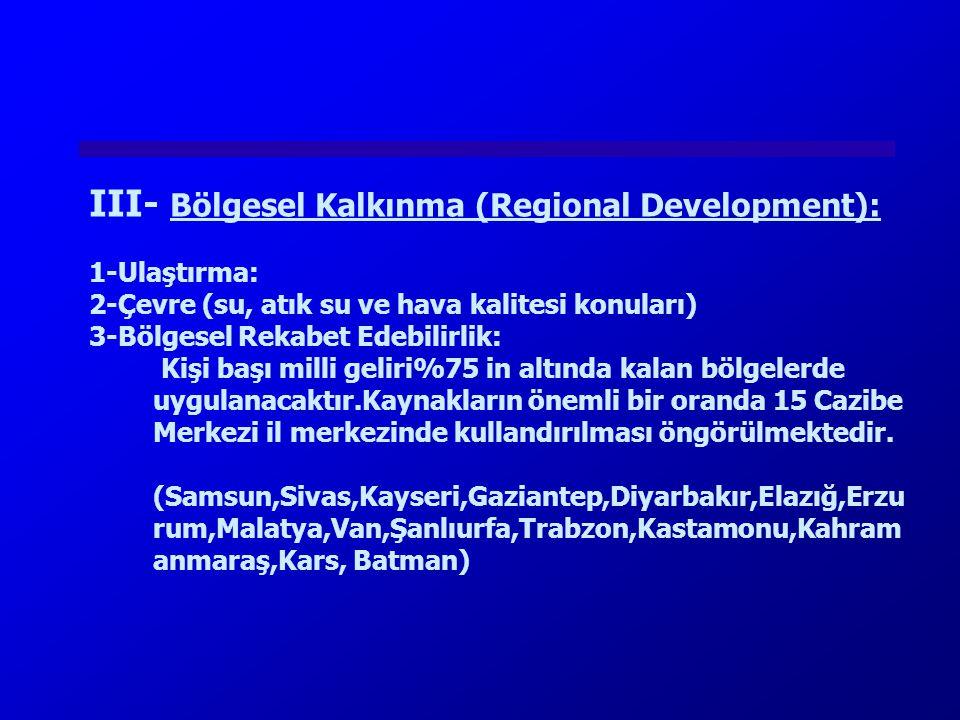 III- Bölgesel Kalkınma (Regional Development):
