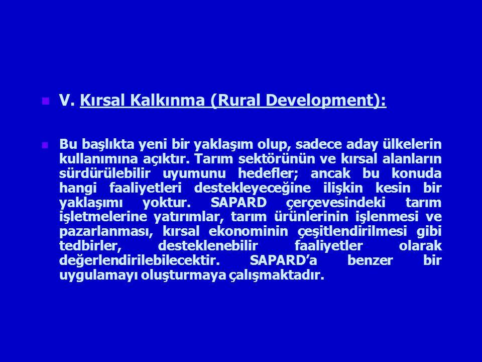 V. Kırsal Kalkınma (Rural Development):