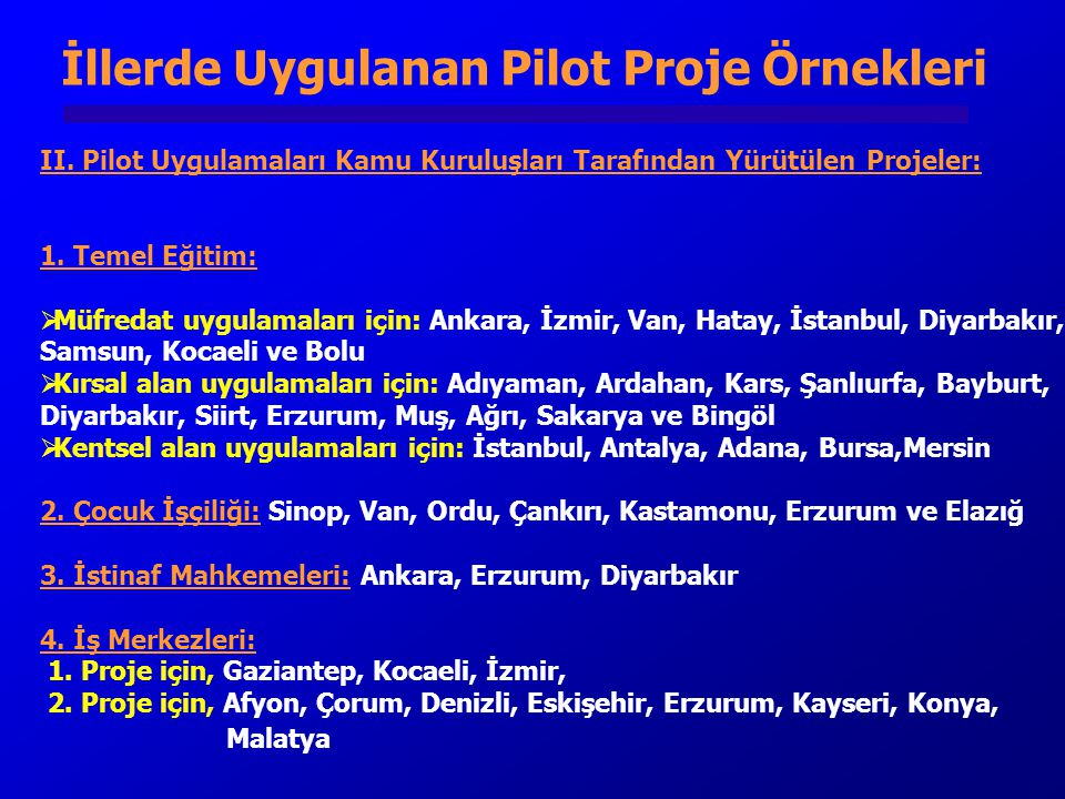 İllerde Uygulanan Pilot Proje Örnekleri