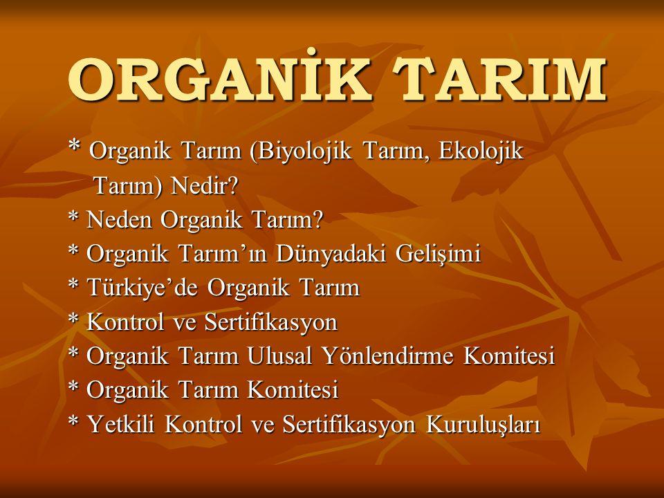 ORGANİK TARIM * Organik Tarım (Biyolojik Tarım, Ekolojik Tarım) Nedir