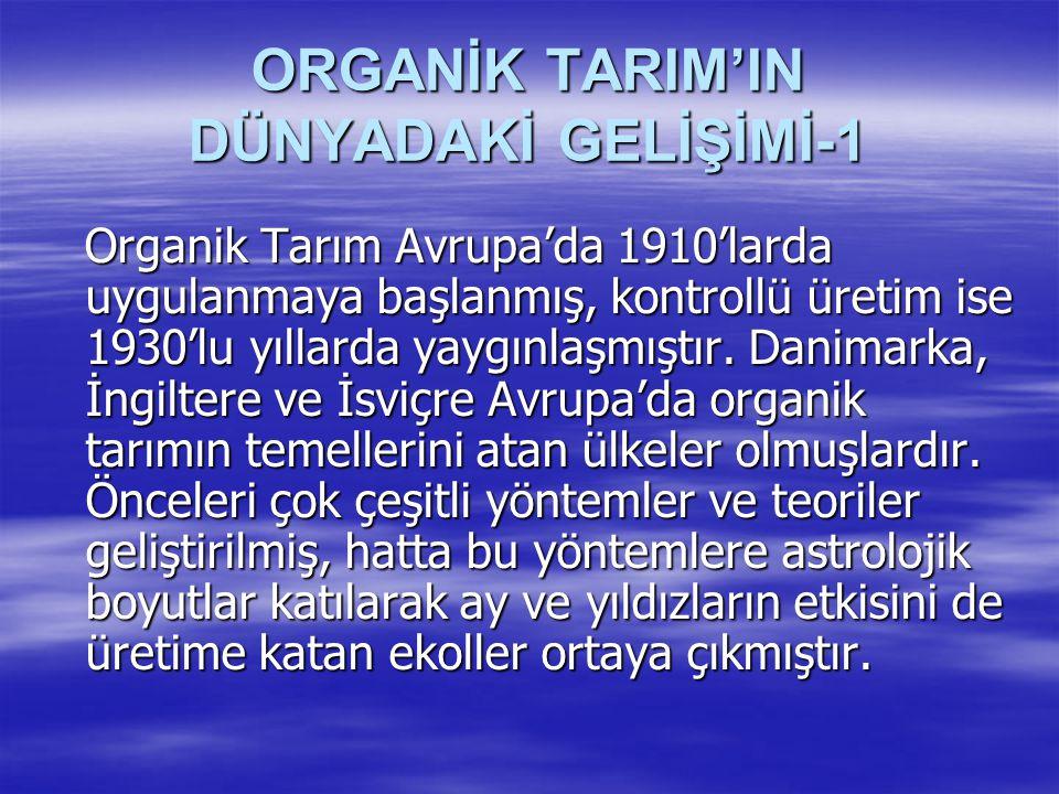 ORGANİK TARIM'IN DÜNYADAKİ GELİŞİMİ-1