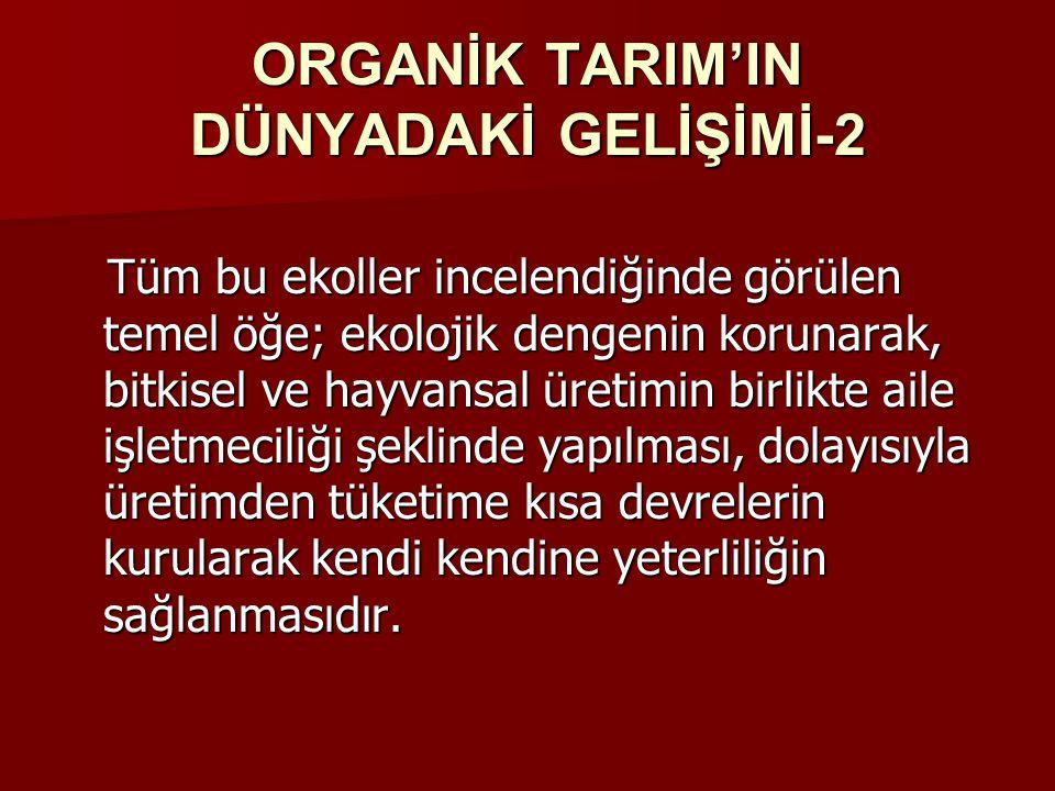 ORGANİK TARIM'IN DÜNYADAKİ GELİŞİMİ-2