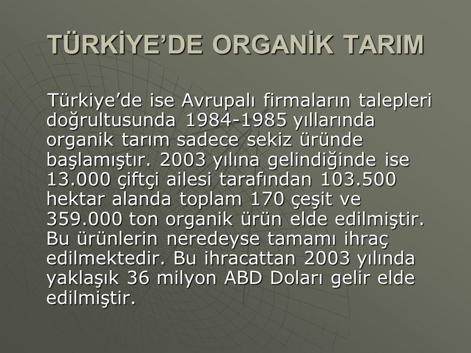 TÜRKİYE'DE ORGANİK TARIM