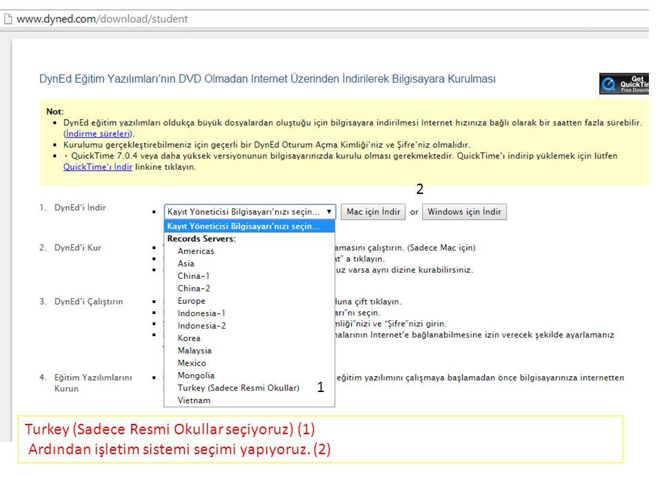 2 1 Turkey (Sadece Resmi Okullar seçiyoruz) (1) Ardından işletim sistemi seçimi yapıyoruz. (2)
