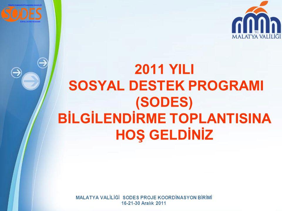 MALATYA VALİLİĞİ SODES PROJE KOORDİNASYON BİRİMİ 16-21-30 Aralık 2011