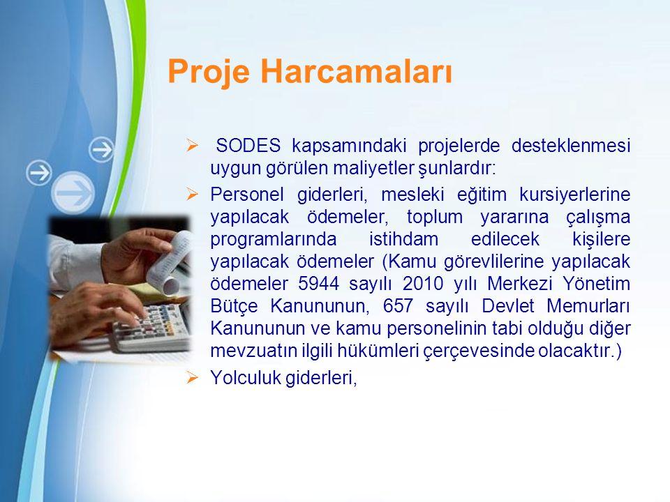 Proje Harcamaları SODES kapsamındaki projelerde desteklenmesi uygun görülen maliyetler şunlardır: