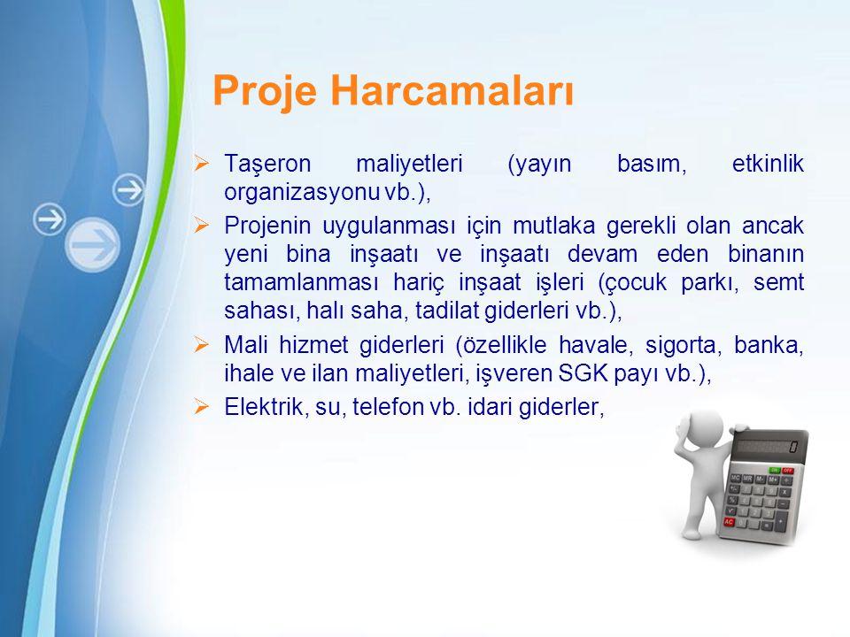 Proje Harcamaları Taşeron maliyetleri (yayın basım, etkinlik organizasyonu vb.),