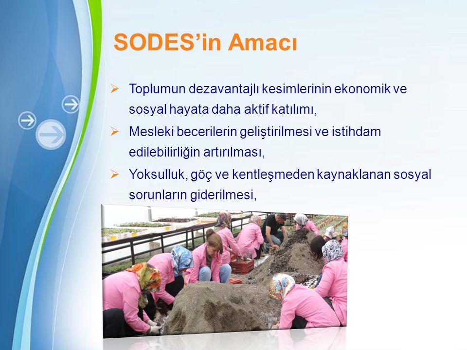 SODES'in Amacı Toplumun dezavantajlı kesimlerinin ekonomik ve sosyal hayata daha aktif katılımı,