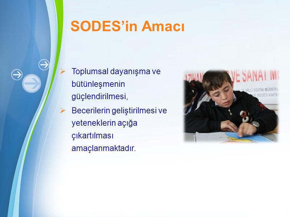 SODES'in Amacı Toplumsal dayanışma ve bütünleşmenin güçlendirilmesi,
