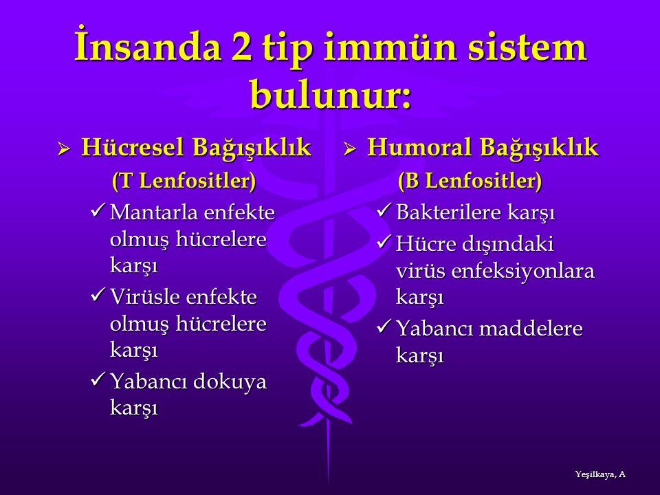 İnsanda 2 tip immün sistem bulunur: