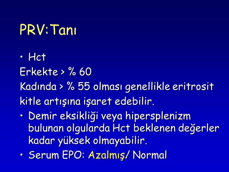 PRV:Tanı Hct Erkekte > % 60