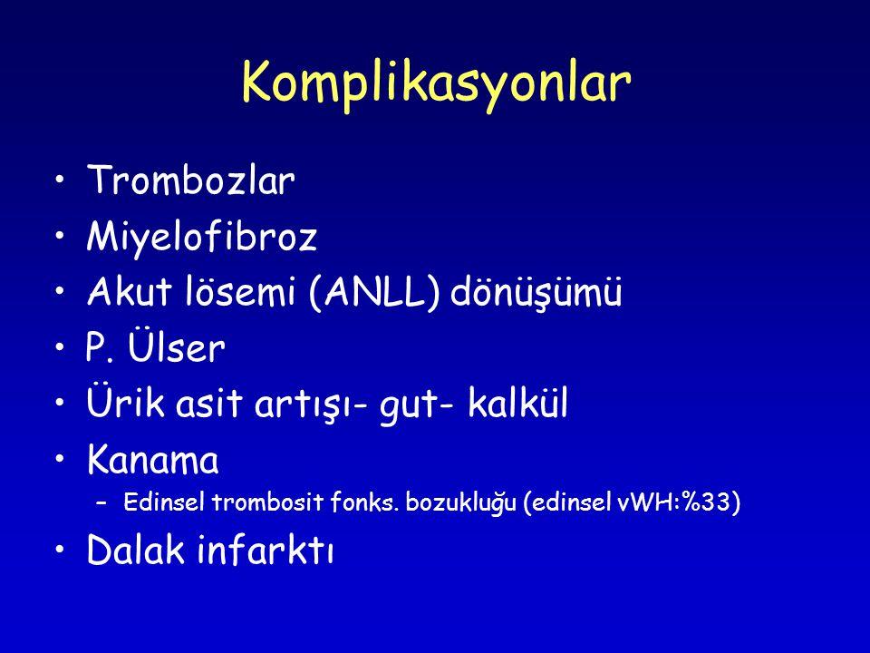 Komplikasyonlar Trombozlar Miyelofibroz Akut lösemi (ANLL) dönüşümü