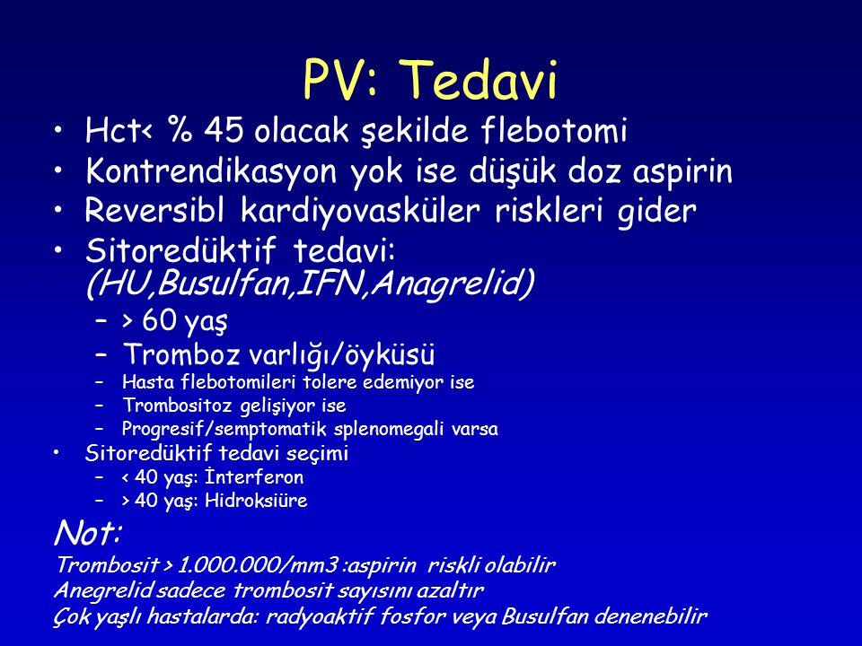 PV: Tedavi Hct< % 45 olacak şekilde flebotomi