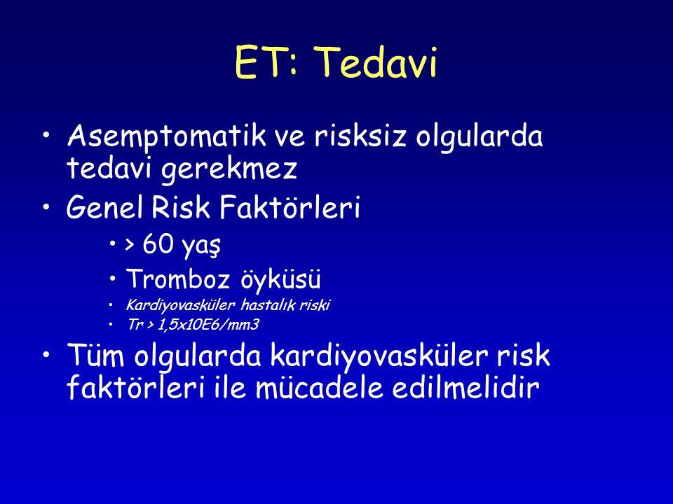 ET: Tedavi Asemptomatik ve risksiz olgularda tedavi gerekmez