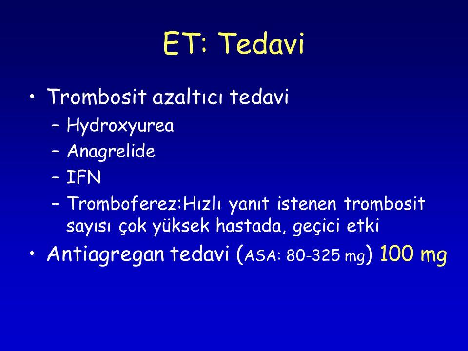 ET: Tedavi Trombosit azaltıcı tedavi