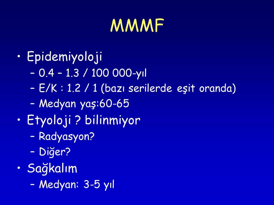 MMMF Epidemiyoloji Etyoloji bilinmiyor Sağkalım