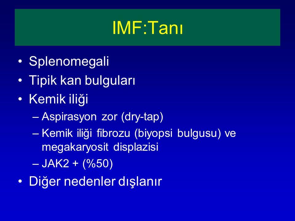 IMF:Tanı Splenomegali Tipik kan bulguları Kemik iliği