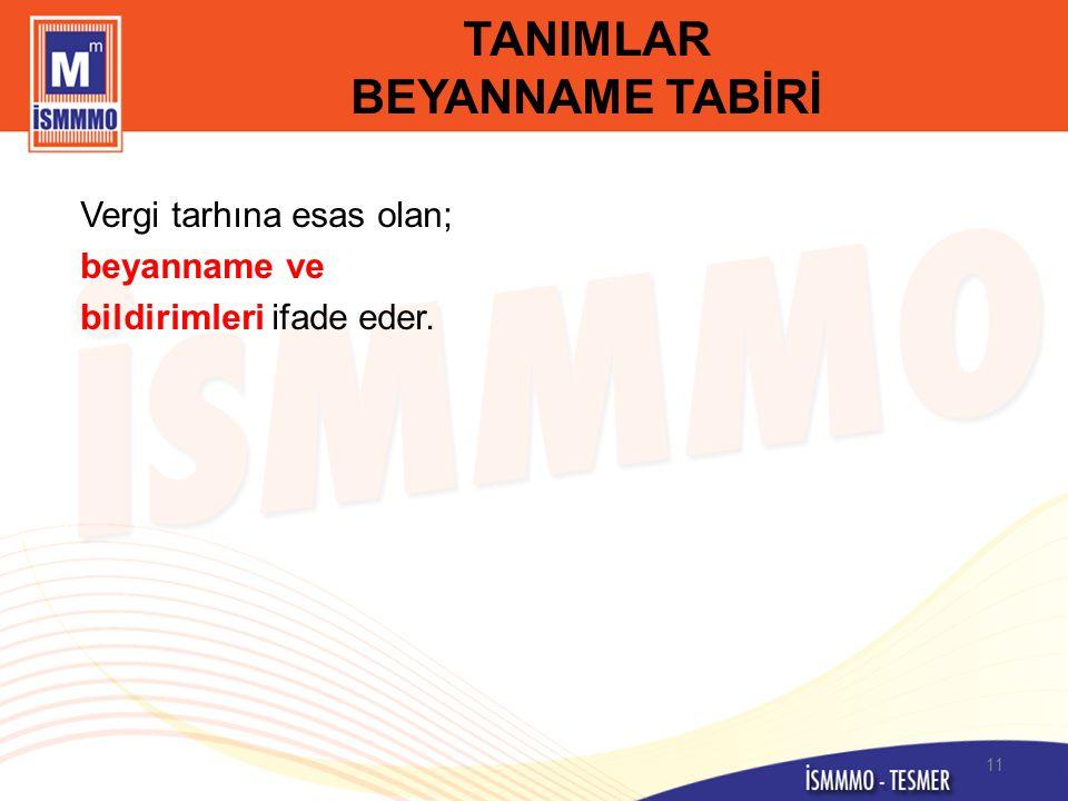 TANIMLAR BEYANNAME TABİRİ
