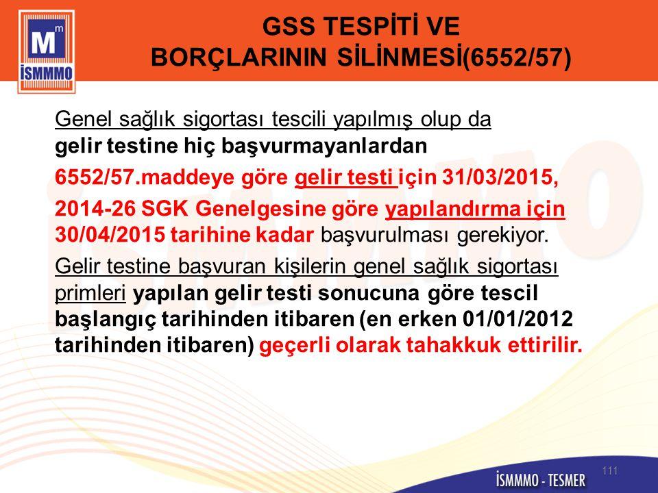 GSS TESPİTİ VE BORÇLARININ SİLİNMESİ(6552/57)