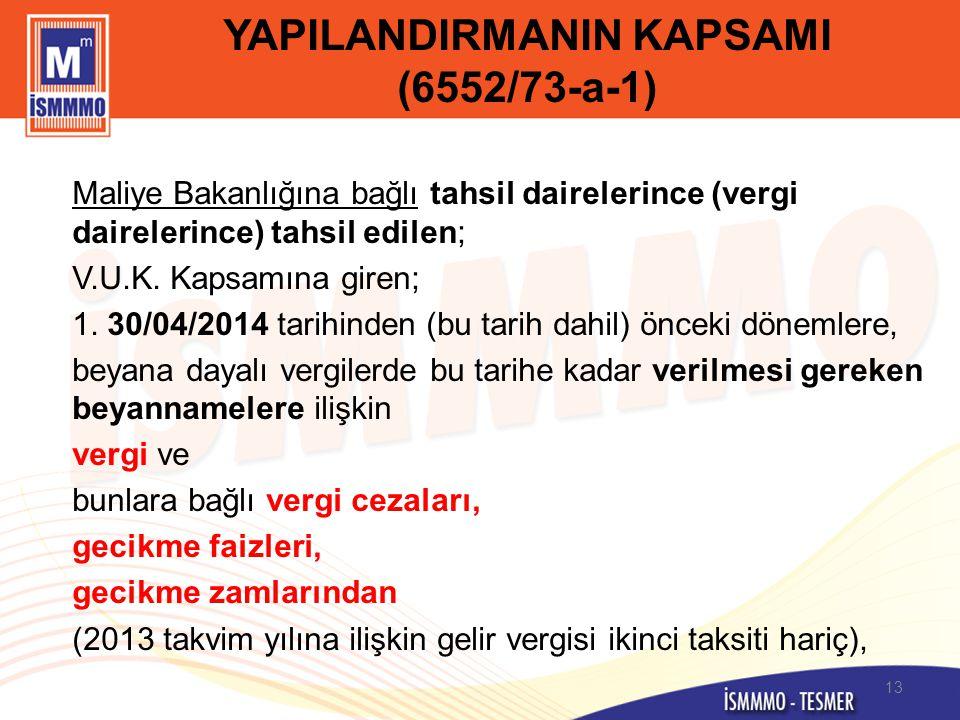 YAPILANDIRMANIN KAPSAMI (6552/73-a-1)