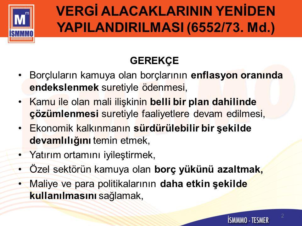 VERGİ ALACAKLARININ YENİDEN YAPILANDIRILMASI (6552/73. Md.)