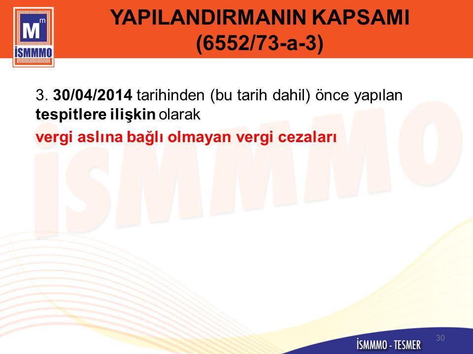YAPILANDIRMANIN KAPSAMI (6552/73-a-3)