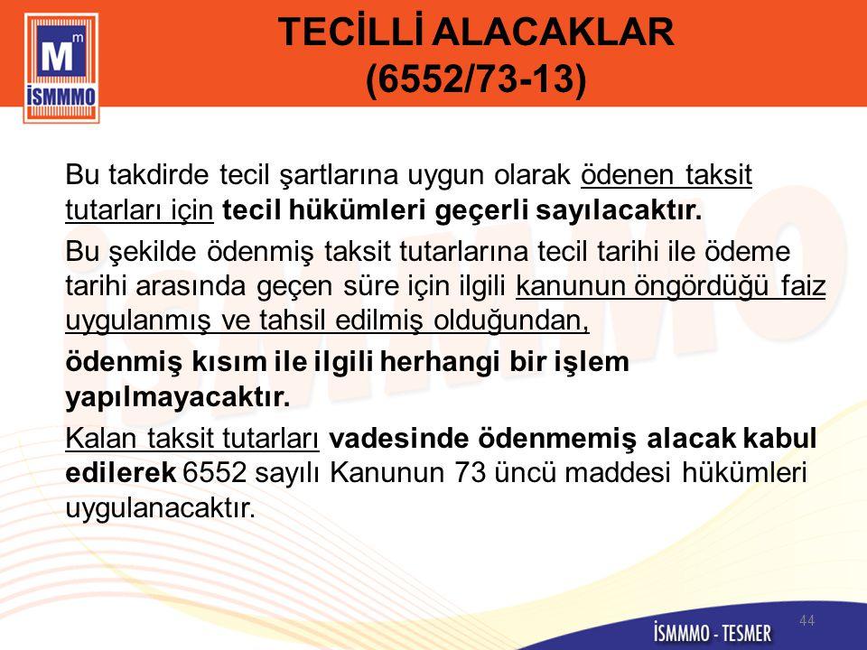 TECİLLİ ALACAKLAR (6552/73-13)